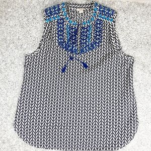 J.crew Factory Printed embroidered tassel tank